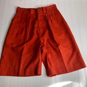 Vintage Red Orange High Waist Shorts Linen Blend